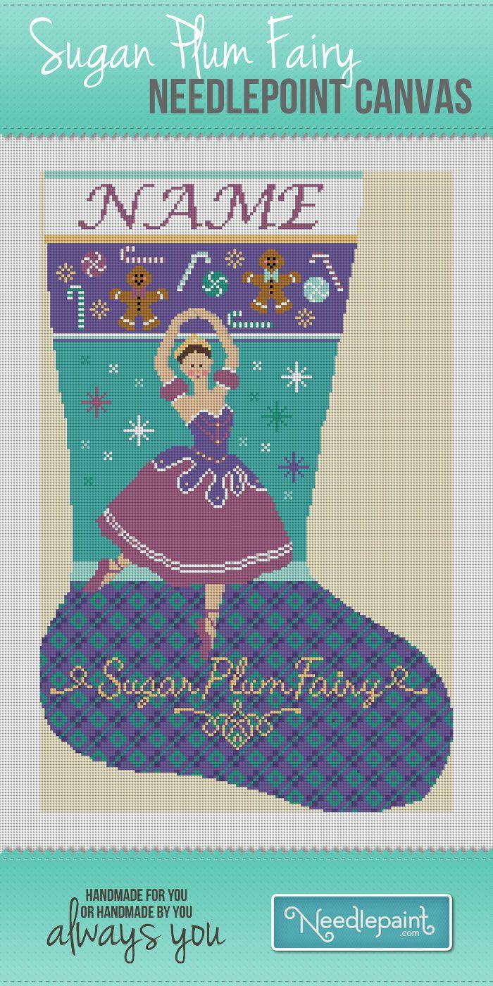 #SugarPlumFairy #NeedlepointStocking. http://www.needlepaint.com/needlepoint-kits/sugar-plum-fairy-needlepoint-stocking-canvas-487
