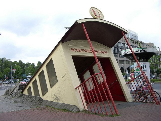 Frankfurt, Germany is the subway entrance to Bockenheimer Warte -- I love this!!