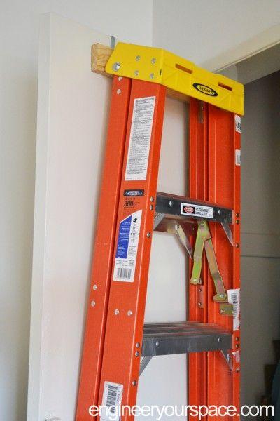 DIY over-the-door ladder holder