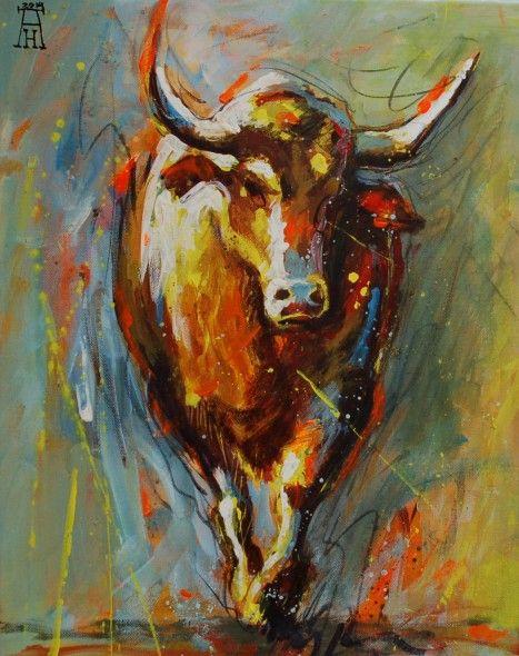 2014 americo hume obra de arte hangry bull artistas y for Pinterest obras de arte