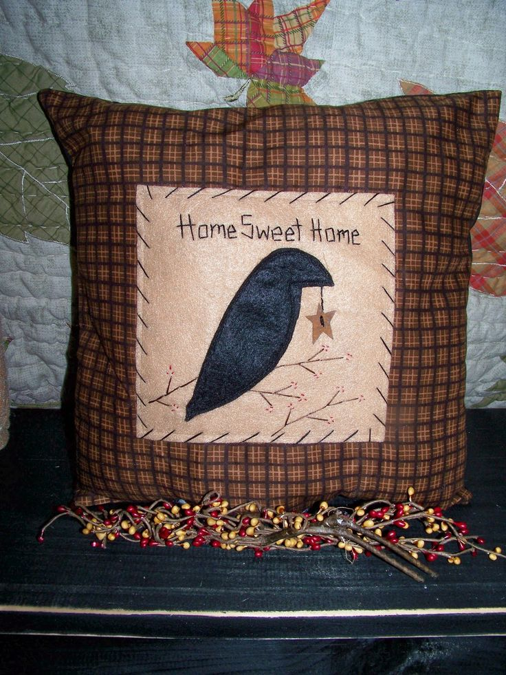 Primitive Decor CROW PILLOW Country Rustic Cabin Accent Grungy Prim ...