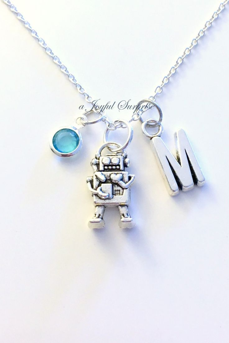 Robot Necklace, Gift for Robotics Club, Robo Alien Silver Game Jewelry charm Initial Birthstone present Sterling 925 Canadian Seller Teen by aJoyfulSurprise on Etsy