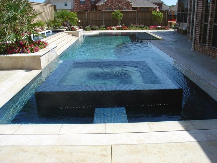 Straight line pool in Murphy with Sunstone plaster, glass tile ...