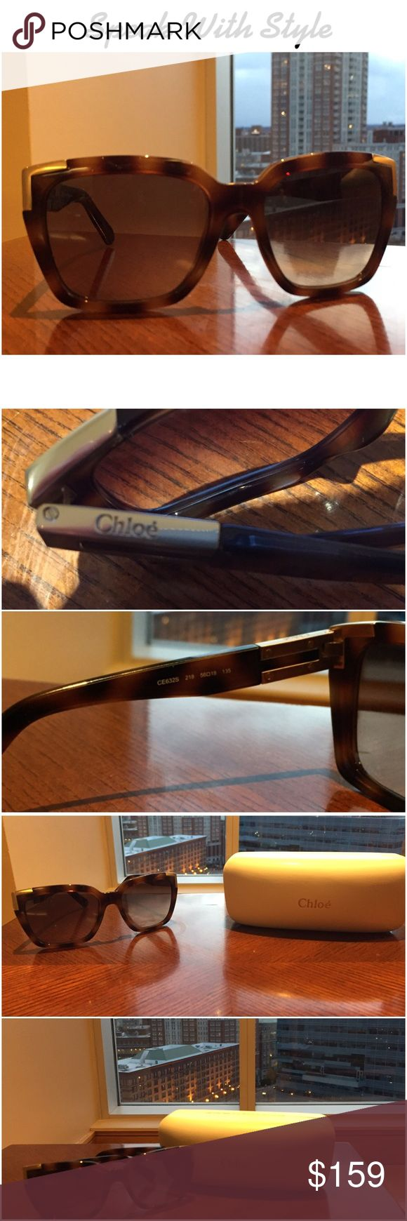 NWOT: Chloe Oversized Sunglasses 😎 NWOT: Chloe oversized sunglasses. Color is brown and gold. Made in Italy. Gold tone metal accents on arms and frames at temple. Brand name on top left of arm. Very comfortable and fit well on the face but I feel they are a little too big for me. Chloe Accessories Sunglasses