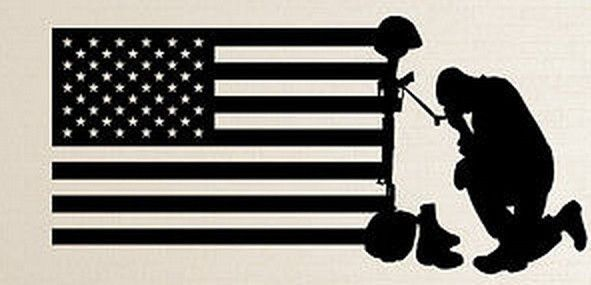 United States Praying Marine/Army Soldier USA American Flag Vinyl Wall Decal Sticker Wall Decor 5 Sizes