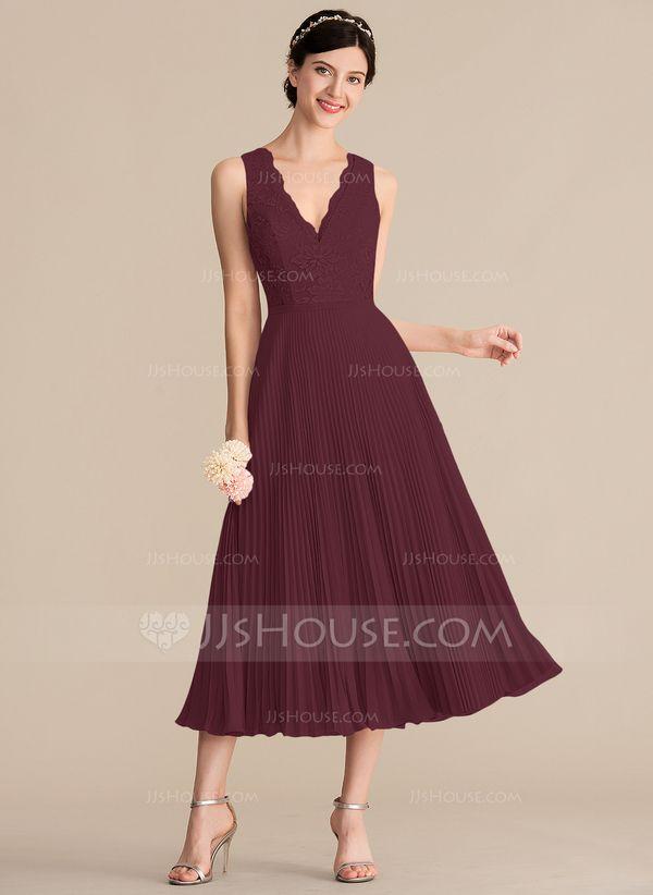 48fbdc7a282f0b A-Line/Princess V-neck Tea-Length Chiffon Lace Bridesmaid Dress With Pleated