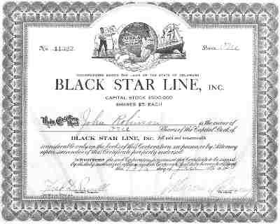 Black Star Line stock certificate. The Black Star Line started in Delaware on June 23, 1919 with the purpose of providing transit to Liberia. Having a maximum capitalization of $500,000, BSL stocks were sold at UNIA conventions at five dollars each. The company's losses were estimated to be between $630,000 and $1.25 million.