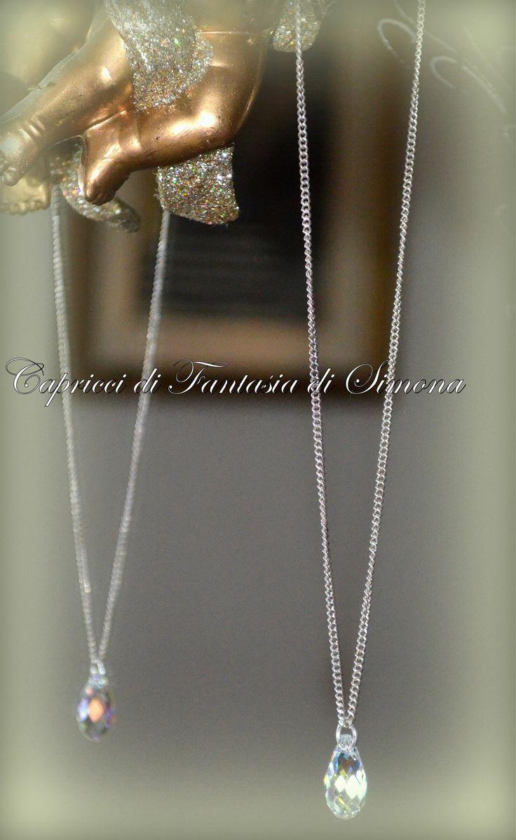 Collana argento con Briolette Sw