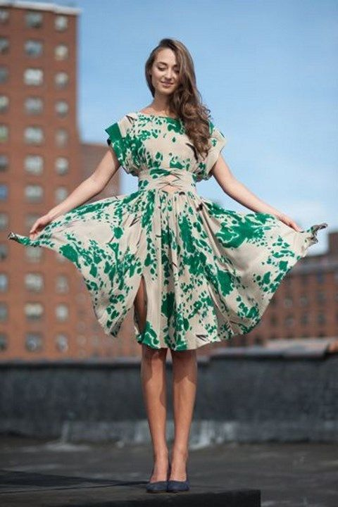 An abstract print in a romantic, silk fit & flare style is perfect for fall weddings.