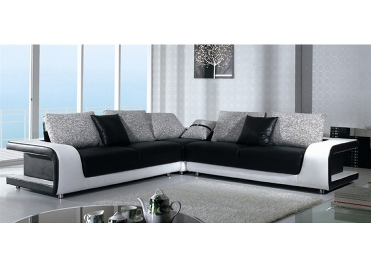 Kirk   Black And White Leather Sectional Sofa