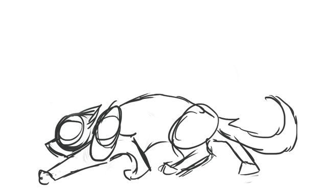 Cat jumping drawing