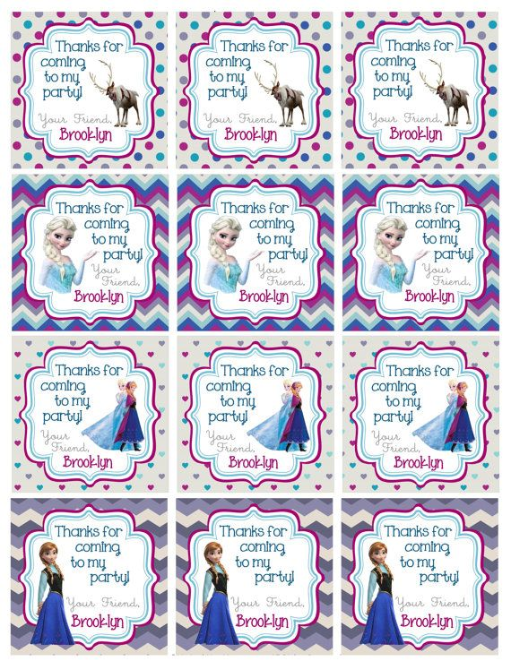 It is a graphic of Vibrant Frozen Party Bag Labels