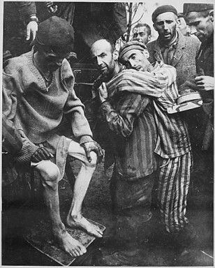 Wobbelin Concentration Camp, recently captured by troops of the 82nd Airborne Division. Many prisoners were found nearly starved to death. Here former prisoners are being taken to a hospital for medical attention. Germany