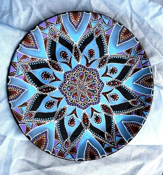 Тарелка настенная декоративная точечная роспись