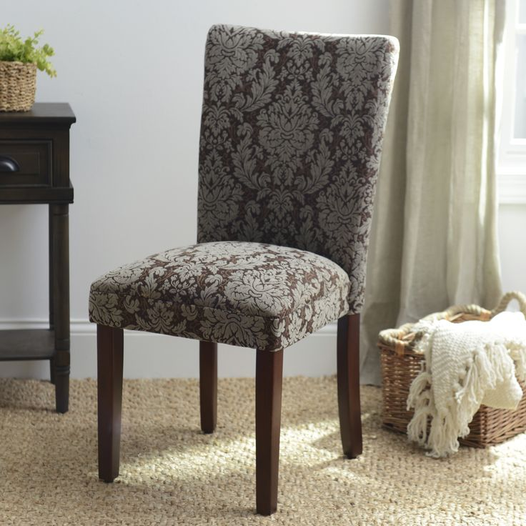 Uniquely Upholstered In An Elegant Brown Damask Fabric This Comfortable Parsons Chair Is The Perfect For Guests Your Dining Room