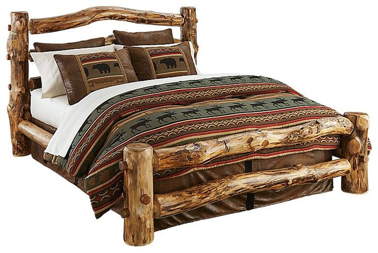 Natural Wood Bedroom Furniture Collection Log Bed   Bass Pro Shops