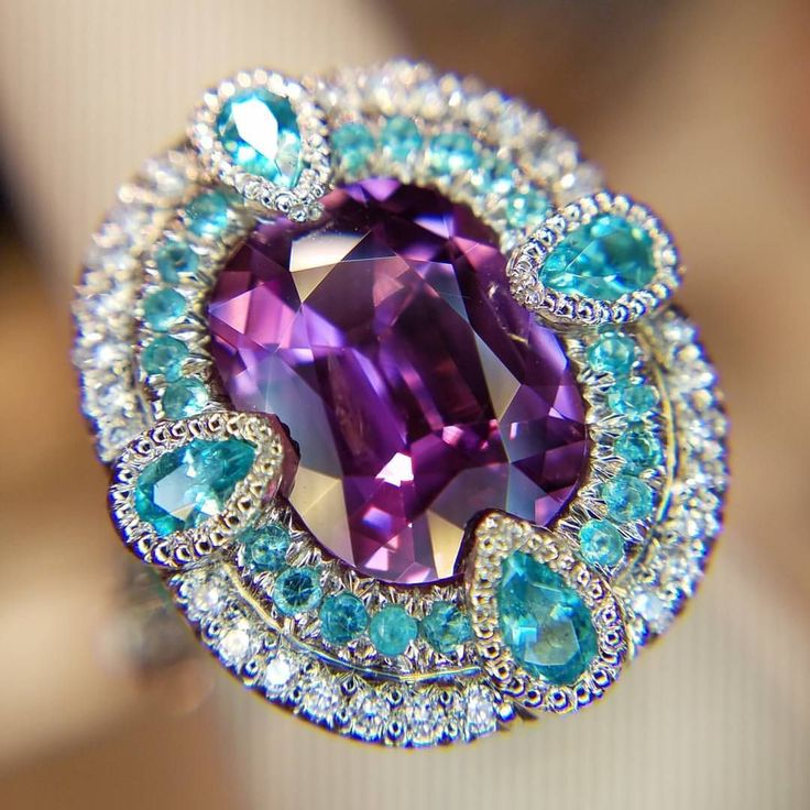 "PurpleSapphire & Paraiba ring Violet Sapphire ring with Paraiba ""copper bearing"" tourmaline"