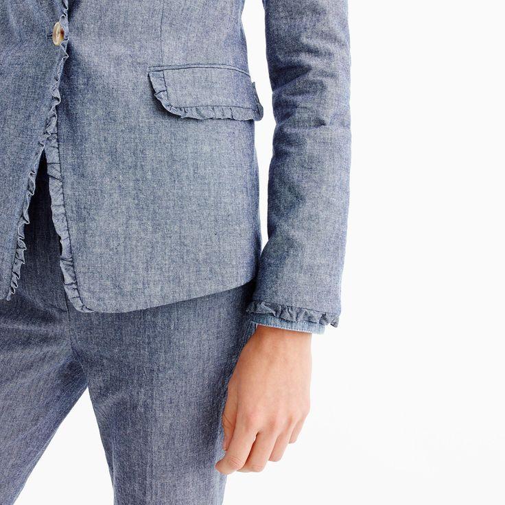 Chambray Regent blazer with ruffle trim