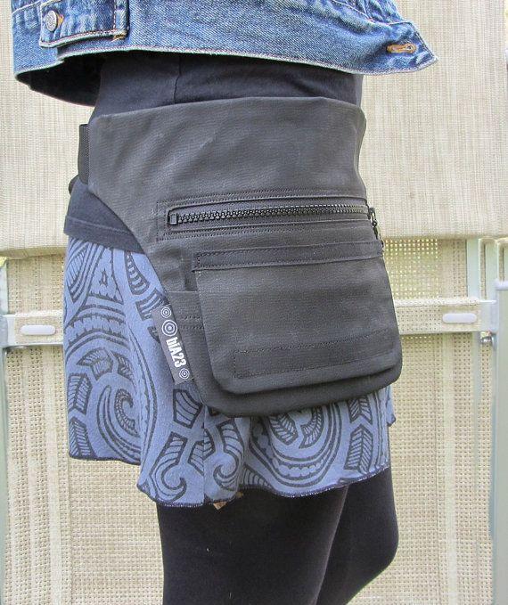 Fanny pack // Hip bag // Belt bag // Anthracite black by bia23
