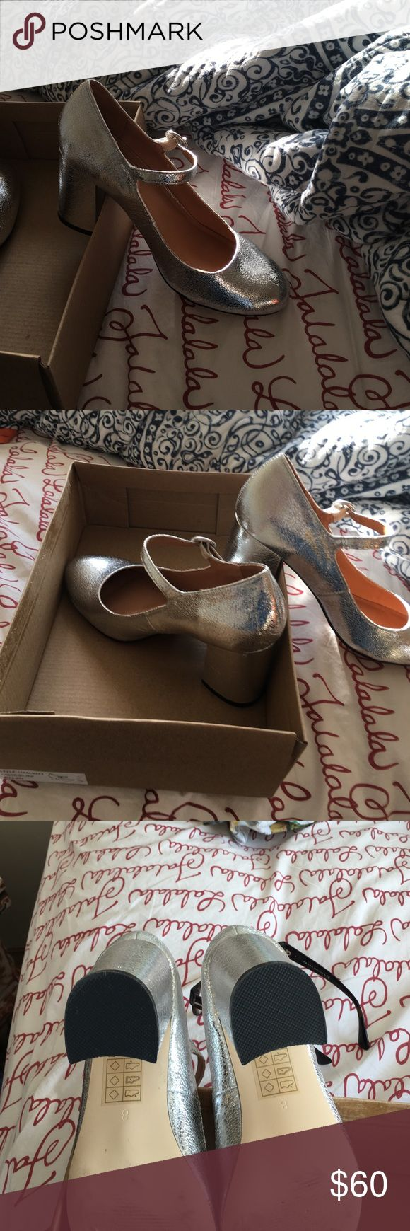Glitter holographic heels From Urban Outfitters Ankle straps - sexy - worn once on a date Urban Outfitters Shoes Heels