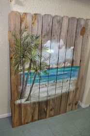 Coastal Chic Boutique: Beach Scene On Weathered Fence