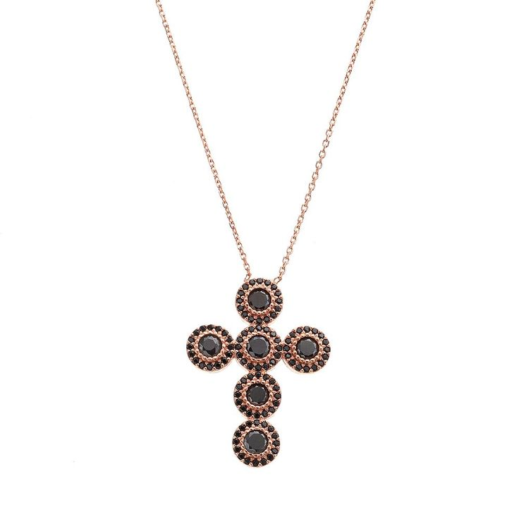 """Cubic Zirconia 14k Rose Gold Over Silver Cross Necklace, Women's, Size: 18"""", Black"""