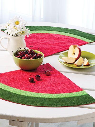 Quilting - Holiday & Seasonal Patterns - Summer Patterns - Watermelon Cooler Place Mats