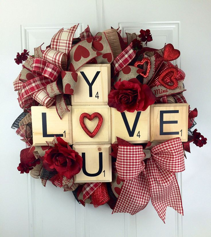 Love you deco mesh wreath, Scrabble Pieces Valetine's Wreath, Valentine's Deco Mesh Wreath, Valentine Wreath, Love You Scrabble Wreath by RhondasCre8iveCorner on Etsy