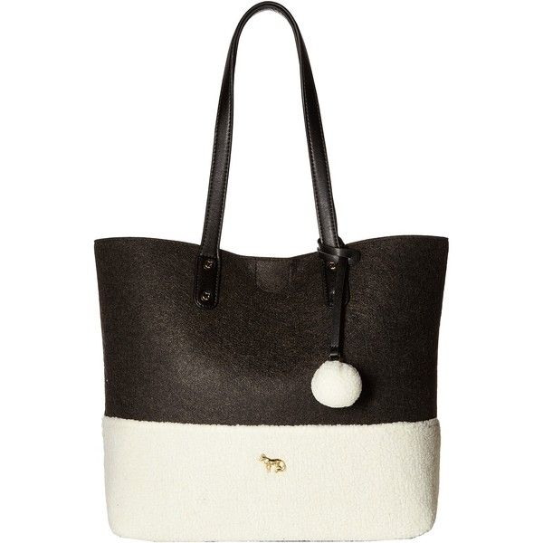 Emma Fox Caspian Felt Tote (Charcoal/Cream) Tote Handbags ($40) ❤ liked on Polyvore featuring bags, handbags, tote bags, grey, emma fox handbags, emma fox purses, gray tote bag, grey tote and gray tote handbags