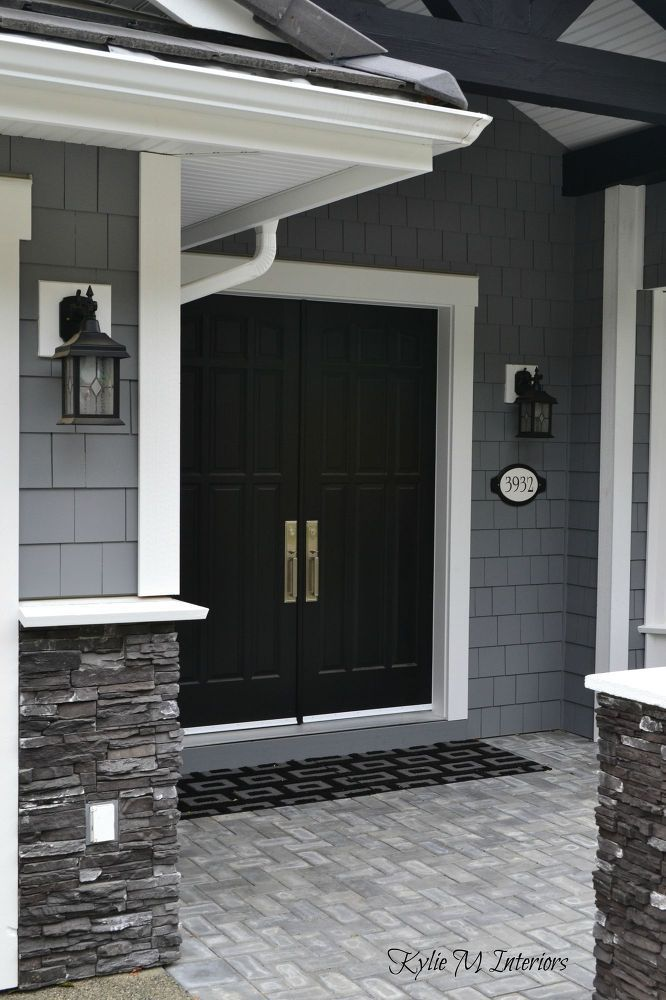 gray house with black front door