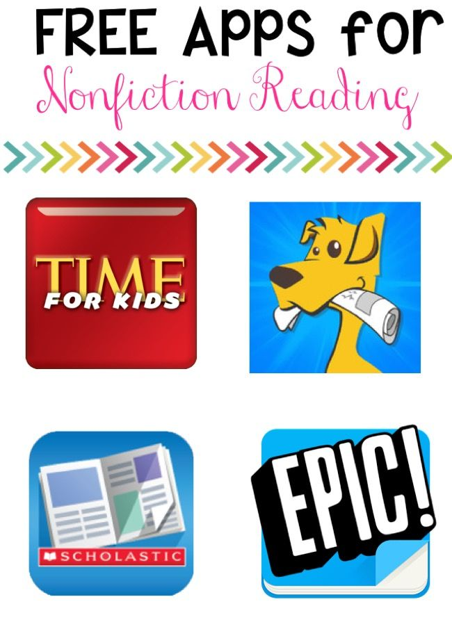 4 Non-Fiction reading apps that are free to begin! Some do have paid features that can be added! Students enjoy them and they teach many great non-fiction skills!