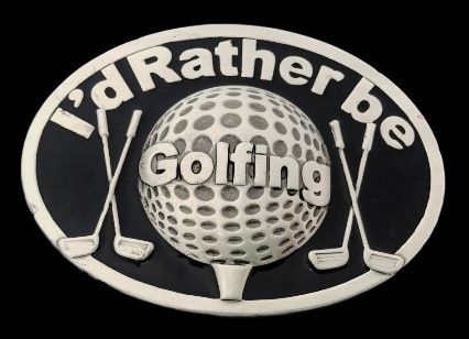 I'd Rather Be Golfing Golfer Golf Golfcart Course Balls Sports Belt Buckle #golf #golfbuckle #golfbeltbuckle #golfer #golferbeltbuckle #golfing #golfingbuckle #golfingbeltbuckle #golfcourse ##idratherbegolfing #beltbuckle #buckles #coolbuckle