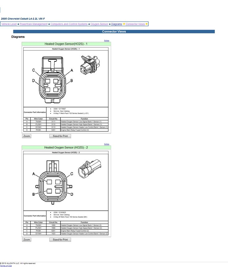 GM O2 Sensor Wiring Diagram | 2005 chevrolet cobalt