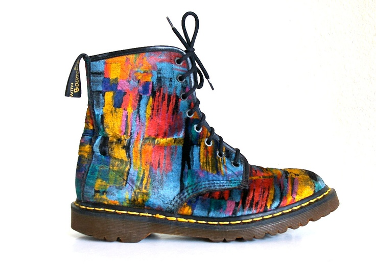 RARE 90's Grunge Abstract Painterly Velvet by FeelingVagueVintage. Dang, I wish these fit me. I would wear them with everything.: Painters Velvet, Grunge Abstract, 90S Fashion, Doc Martens Men, Dr. Martens, Men Shoes, 90 S Grunge, 90S Grunge, Abstract Painters