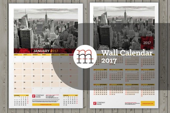 Wall calendar InDesign template for 2017 year. A3 & Tabloid. 12 pages…