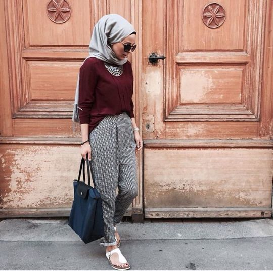 Maroon crop | Printed flair | Black bag | White flats