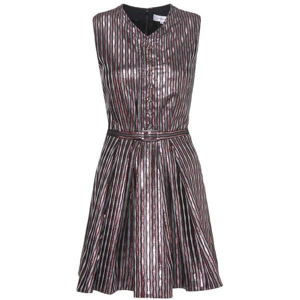 Carven Metallic Striped Dress ($210) ❤ liked on Polyvore featuring dresses, pink, short, pink purple dress, metallic dress, metallic short dress, striped dresses and short pink dress