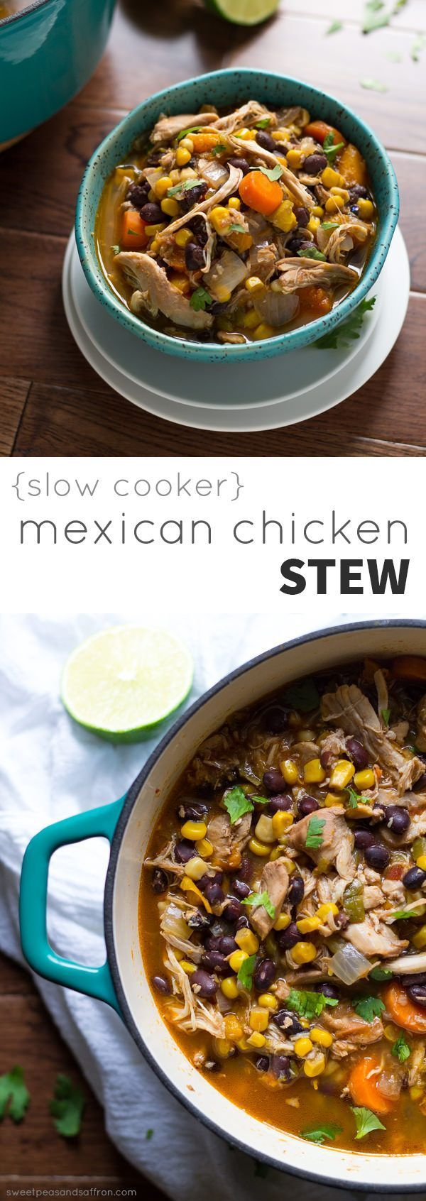 Slow Cooker Mexican Chicken Stew, inspired by tortilla soup! @Denise | Sweet Peas & Saffron
