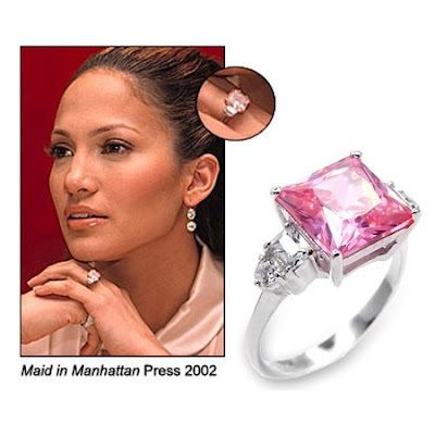 Jennifer Lopez received a Harry Winston 6.1-carat pink diamond engagement ring from Ben Affleck in 2002. The ring was reported to have cost $1.2 million dollars then. The wedding was called off citing interference by the media and she returned the ring in January 2004. The  ring was re-acquired by Harry Winston in 2005 and the reported selling price now is $2.5 million dollars.