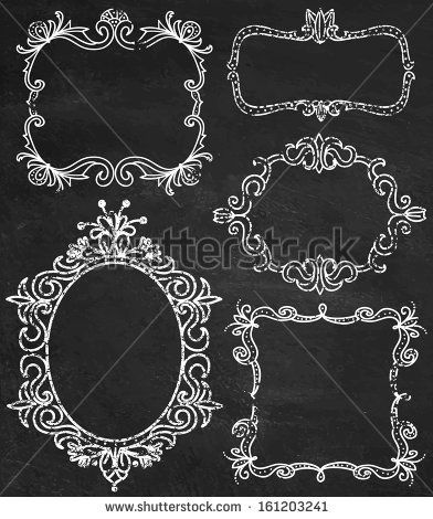 Stock Vector - ShutterStock Set of chalk ornamental detailed hand drawn frames illustrations in vector Chalkboard 161203241 » Holybrick.com