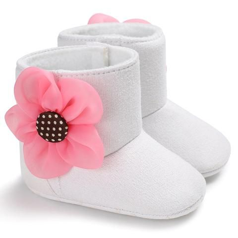 c3032d0774e5 Raise Young Cotton Winter Warm Baby Girl First Walkers Flower Solid ...