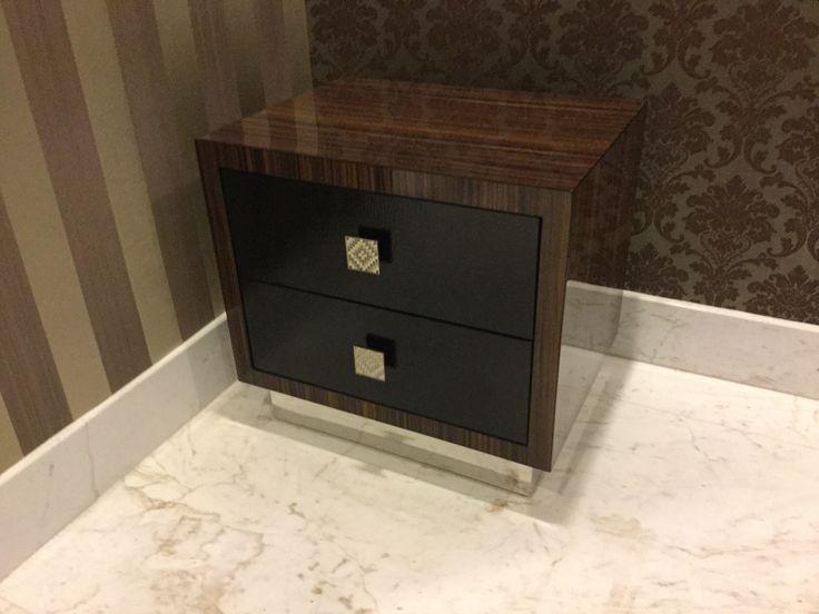 High glossy wood side table by Simple Luxury Interior Surabaya, Indonesia