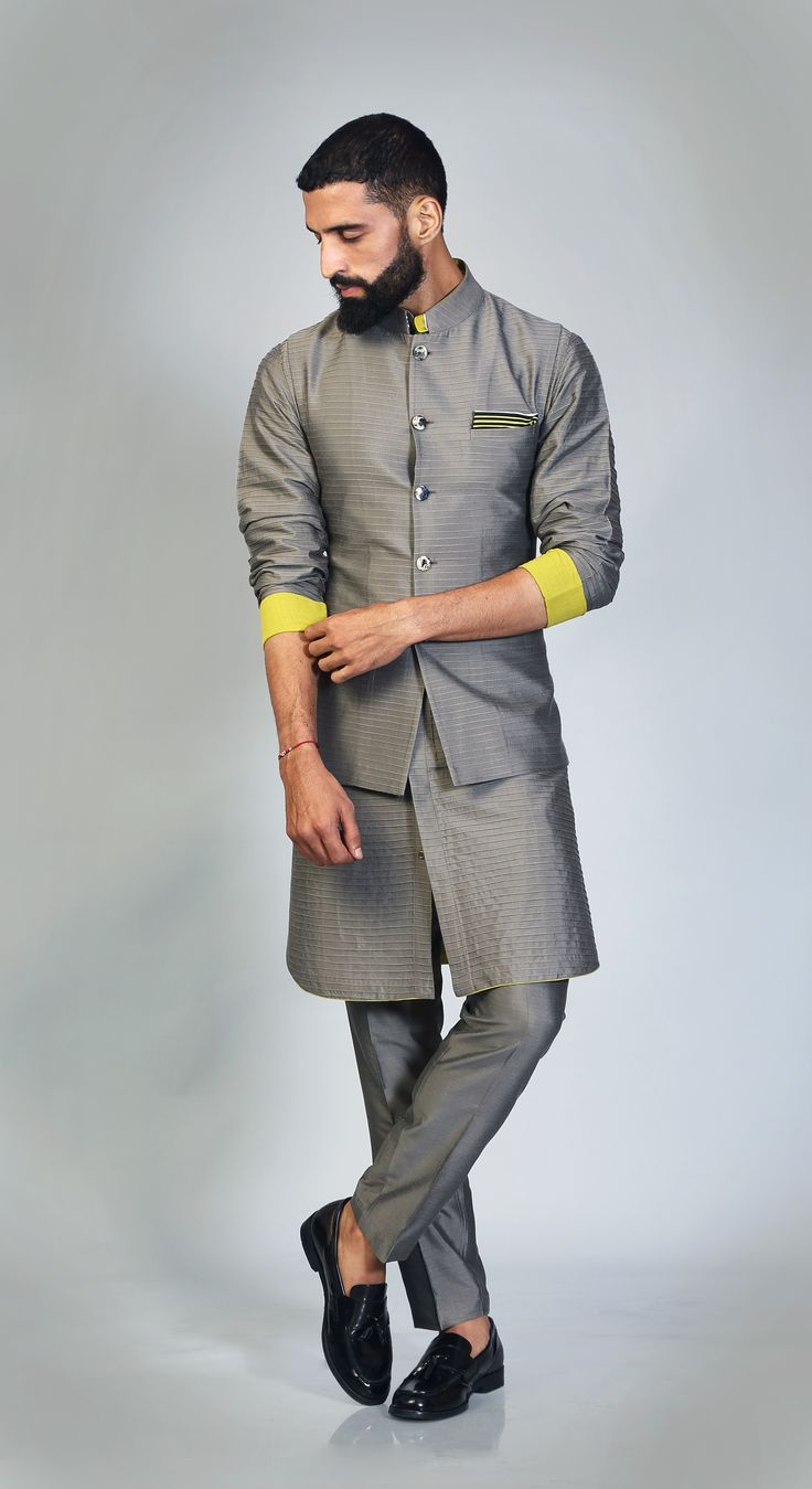 Grey #Pintucks #Texture #AllGrey #Lemon #Twist #Sleeve #Turnup #ShirtKurta #Stylish #Urban #NewAge https://goo.gl/qNpn7y
