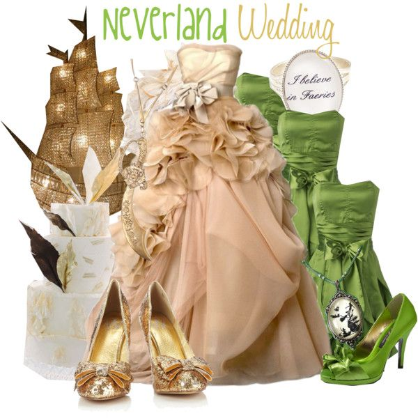 actually the dresses are really beautiful, esp the wedding dress. i'd never wear either tho : Neverland Wedding - Polyvore