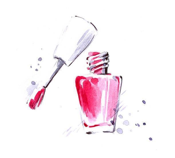 Nail Polish Vector Art Illustration Nail Drawing Nail Polish Art Water Color Nails