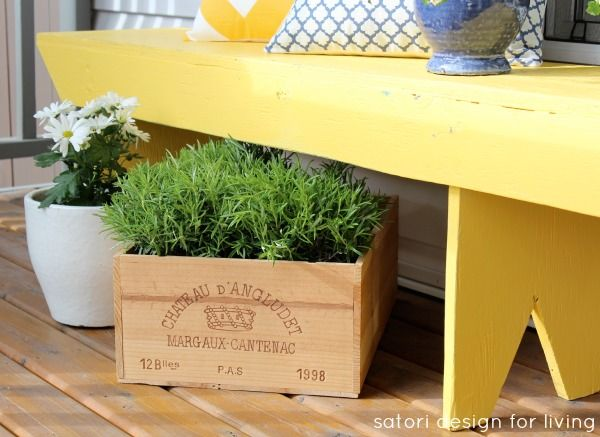 Add a bit of spring to your front porch with green and white plants. Via @Shauna Oberg @ Satori DesignSpring Front Porches 1 Jpg, Designdream, Crates Planters, Cottages Style, Decor Ideas, Wine Crates, Yellow Benches, Gardens, Cottages Charms