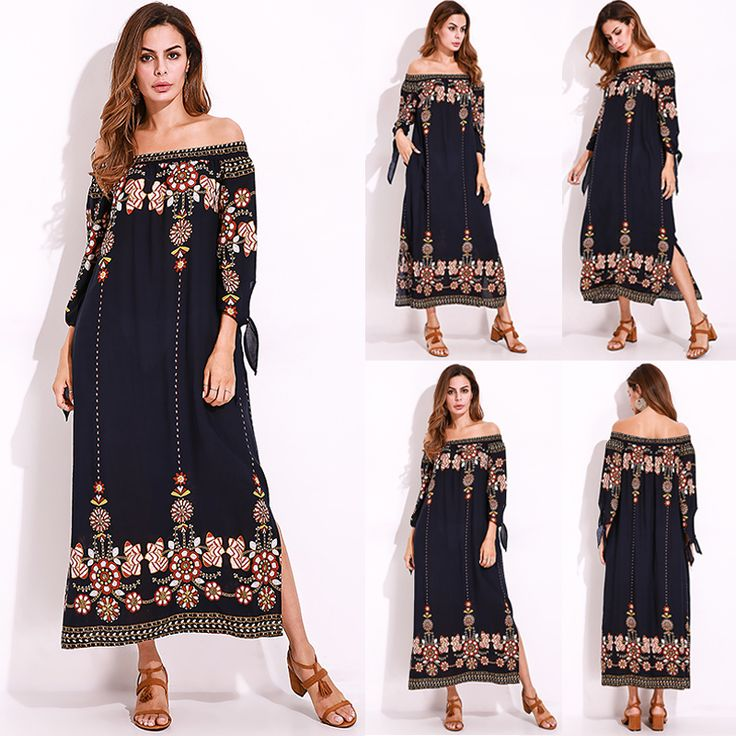 Plus Size Sexy Women Floral Printed Tie Sleeve Dress