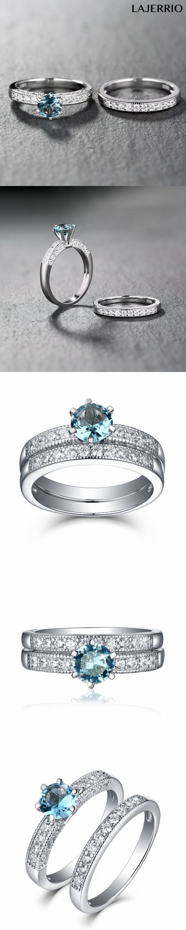 Lajerrio Jewelry Round Cut Aquamarine 925 Sterling Silver Ring Sets