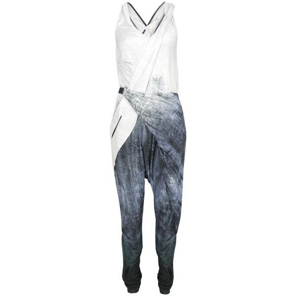 L.A.M.B Gw2084 Grey Jumpsuit (4,165 MXN) ❤ liked on Polyvore featuring jumpsuits, playsuits, women, gray jumpsuits, v-neck jersey, stretch belt, playsuit romper and grey romper jumpsuits