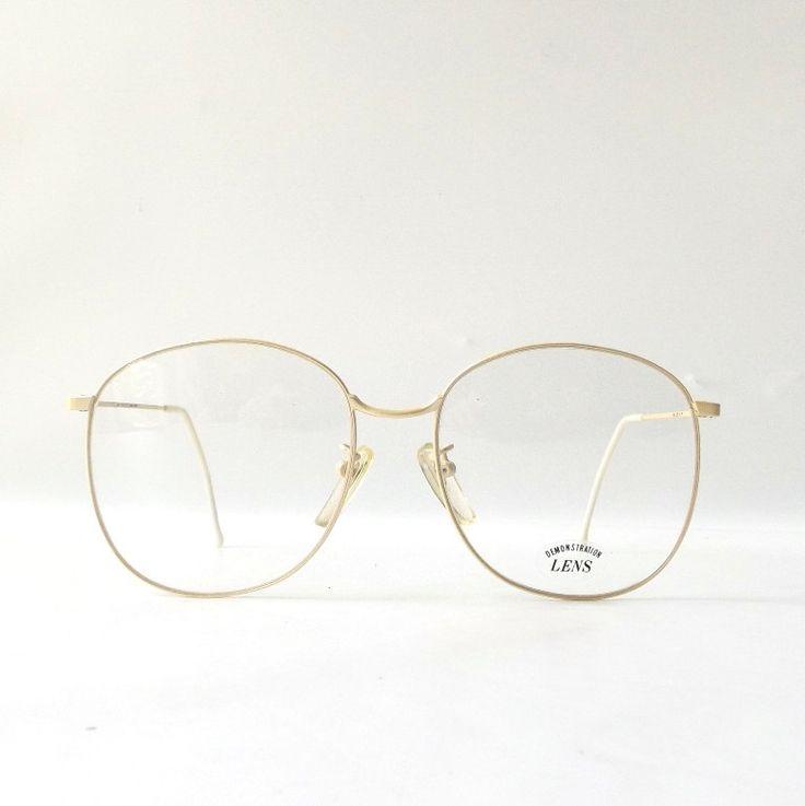 vintage 1980's NOS styl lite round eyeglasses oversized champagne white metal frames eye glasses modern retro men women metallic cream ivory by RecycleBuyVintage on Etsy